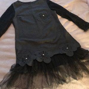 JAPAN Dk grey never worn black lace sleeves dress